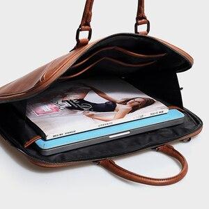 Image 5 - Pasta feminina executiva de couro com 14 polegadas, bolsa para laptop, notebook, mensageiro, seção fina, negócios, 2020