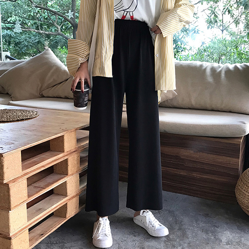 Women 2019 Spring And Autumn Korea Style High Waist Straight Pants Female Casual Black Loose Ankle-length Pants Student Trousers