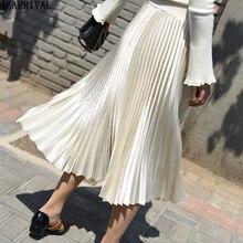 2019 Spring Long Skirts Womens Brand Fashion High Waist Pleated Skirt Metal Color Big Swing Casual Midi Skirt Saia Faldas Mujer цена