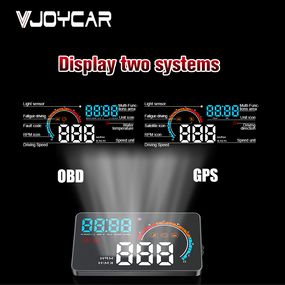 2019 New HUD OBD GPS Dual System Universal for Cars Trucks Speedometer Windshield Projector Fatigue Driving