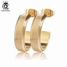 ORSA JEWELS Fashion Brand Big Studs Earrings for Women Luxury Gold-Color&Rose Gold Color&Silver Color Brincos Jewelry GTE20