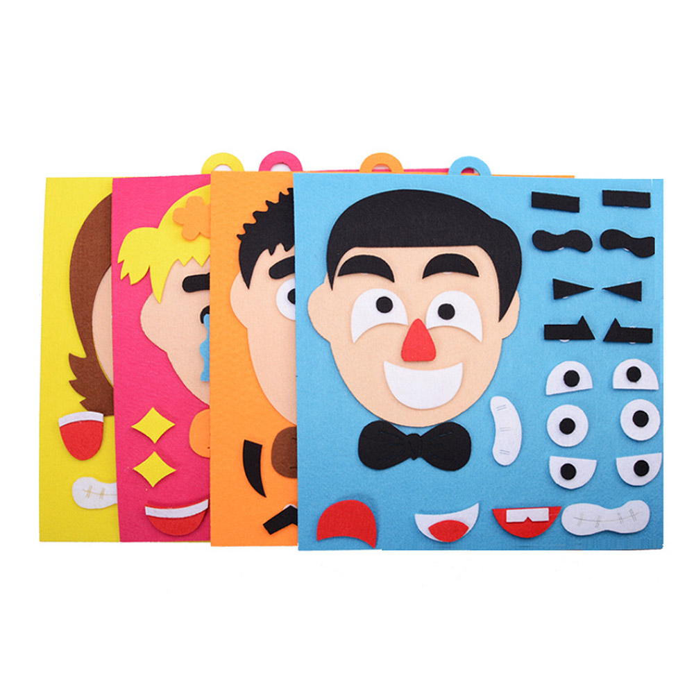 Non-woven Material Package Puzzle Teaching Aids Children Hand-made For Five Facial Expressions Stickers Toys Handmade