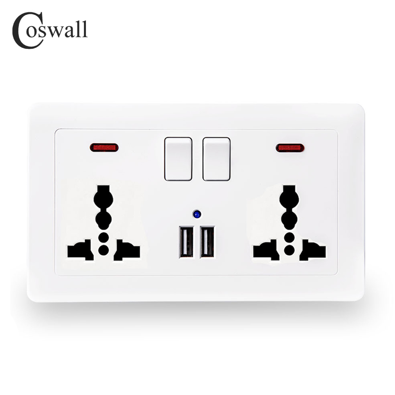 Coswall Wand Steckdose 2 Gang Universal 3 Loch Switched Steckdose Mit Neon 2.1A Dual USB Ladegerät Port led-anzeige 146mm * 86mm