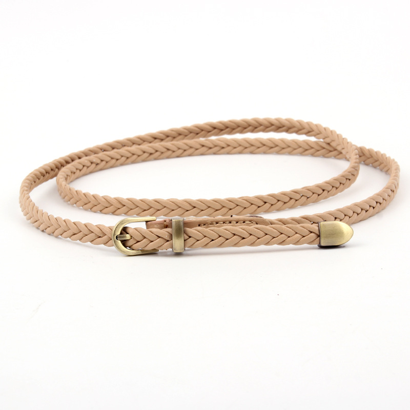 1PC women 39 s belt fashion candy color PU high quality dress pin buckle ladies belt ultra thin woven thin section narrow in Women 39 s Belts from Apparel Accessories