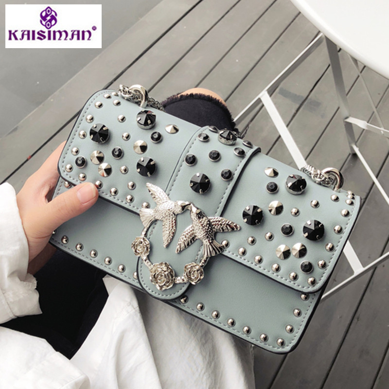 Luxury Brand Rivet Chain Casual Shoulder Messenger Bags Women Leather Bag Gem Famous Designer Handbags Ladies Flap Clutch Purses 2017 luxury handbags black women bags designer women s bag rivet chain messenger shoulder bags female skull clutch famous brand