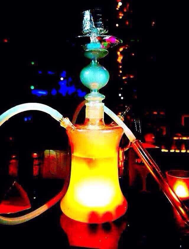 Led licht glazen waterpijp fles kit hookahporn sigle slang - Huishouden