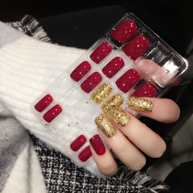 Shiny Red Fake Nails Square Medium Press On Glitter Decoration Nail Art Tips Including Glue