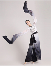 2017 hanfu Chinese Ink Water Sleeves Costumes Classical Dance Clothing Long Fan Poetry Fairy Costume Stage Performance