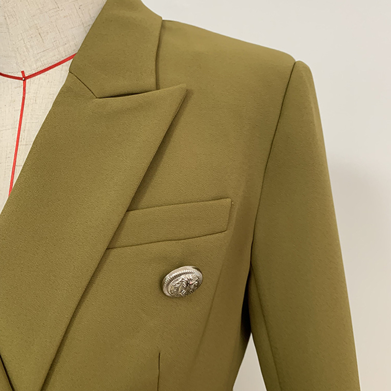 2019 New Fashion Green Blazer Femme Double Breasted Silver Metal lion Head Button Work Offiec Lady Blazer Coat