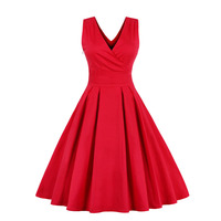 Tanpell sexy v neck cocktail dress red sleeveless above knee a line gown women homecoming party formal short cocktail dresses