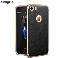 For Apple IPhone 7 Case Cover Luxury Hard Metal Aluminum Frame Protective Leather Armor Phone Case