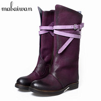 Vintage Purple Women Knee High Boots Gladiator Martin Boot Women Genuine Leather Straps Botas Militares Flat