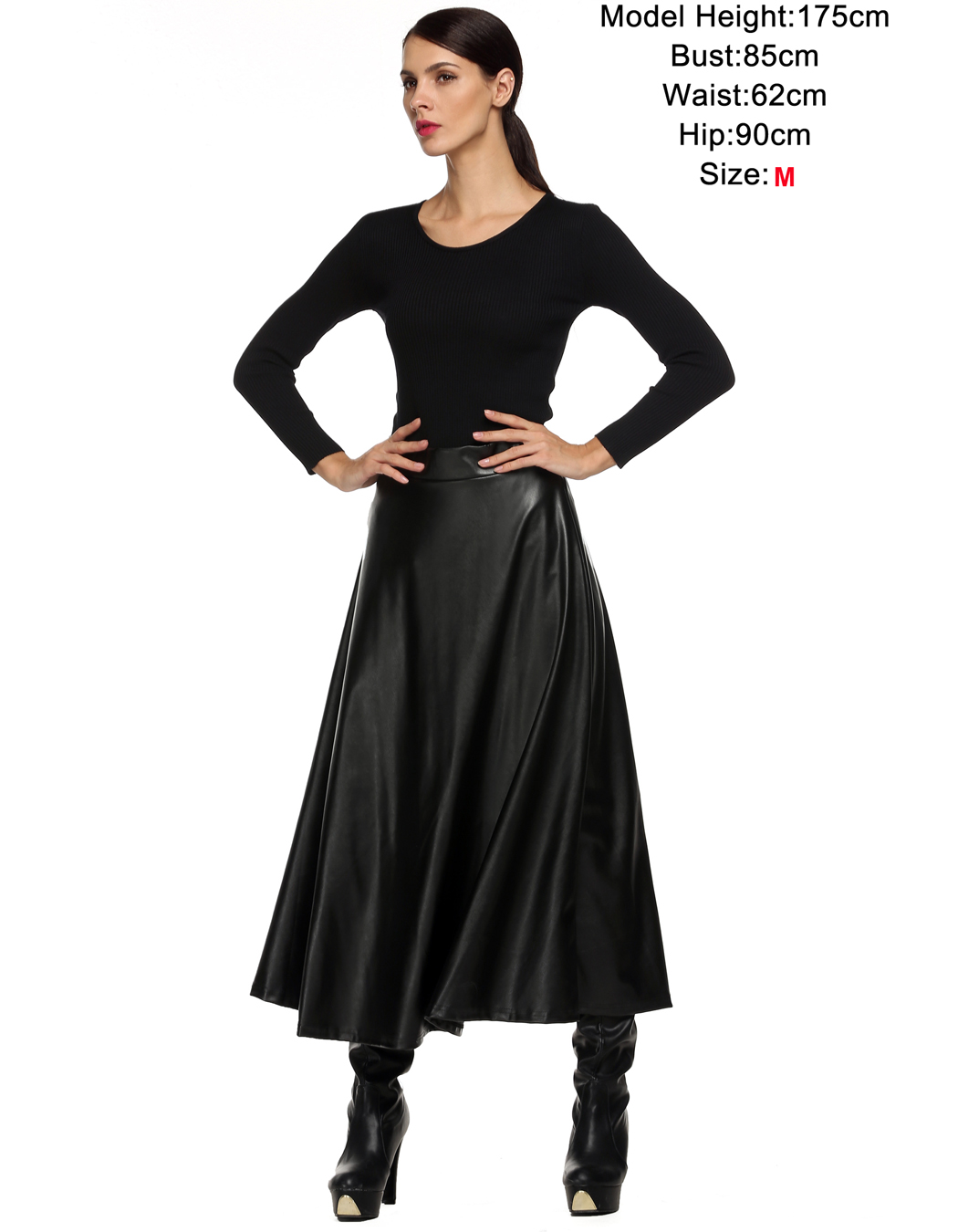9a92205f3 € 20.14 |Invierno PU falda de cuero para mujer saia faldas Maxi faldas  largas mujeres alta cintura delgada otoño Vintage Falda plisada negro XL  XXL ...