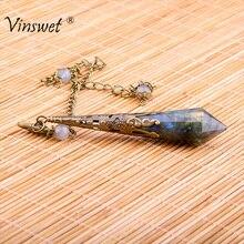 Natral pierre Labradorite Spectrolite pendentifs à breloque gemmes naturelles pierre pendule pour colliers hommes et femmes bijoux de mode