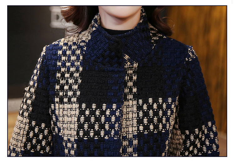 Color Taille X 2018 Hanorange Armure Plaid De Grande long Trimestre Hiver Contexture Manteau Manchon Élégant Laine 3 Picture Mince Poche Tempérament FpFU6qR