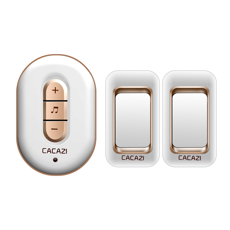 CACAZI wireless doorbell 300M remote 2 waterproof transmitters+1 AC plug-in receiver door bell 48 chimes 6 volume door ring social housing in glasgow volume 2