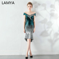 LAMYA High Low Sequined Cocktail Dress Elegant Contrast Color Evening Party Dresses Mermaid Prom Dress Special Occasion Dresses
