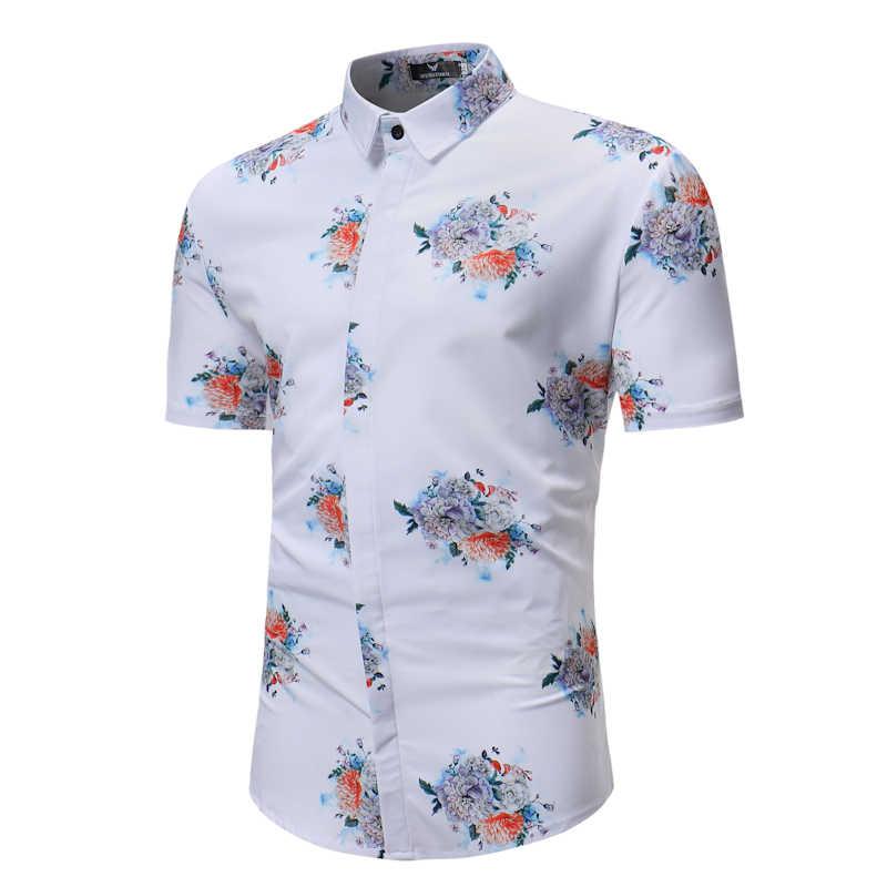 Белая рубашка с цветочным принтом для мужчин 2018 Повседневная приталенная Мужская гавайская рубашка с коротким рукавом на пуговицах летняя брендовая рубашка Chemise Homme