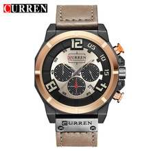 CURREN reloj Casual de cuero para Hombre, reloj deportivo de cuarzo, cronógrafo, masculino