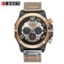 Curren nova marca de luxo moda casual couro relógio masculino à moda esportes quartzo masculino cronógrafo relojes hombre