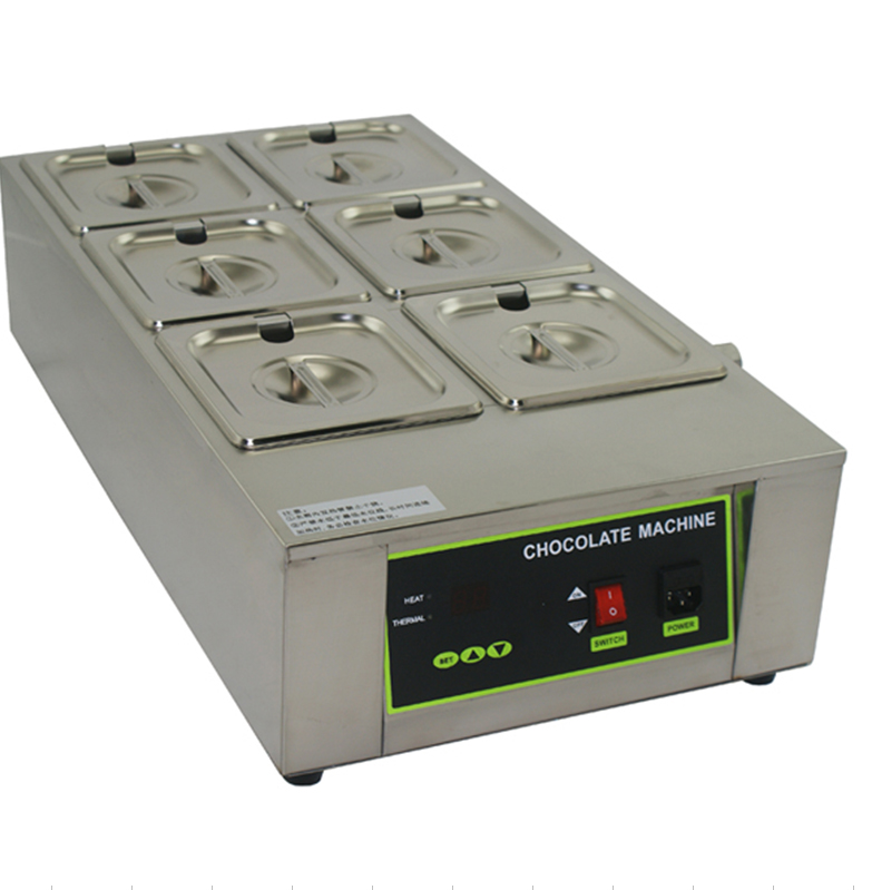 Free shipping Commercial Use 110v 220v 6 Tanks Digital Chocolate Melteing machine Solid butter Melter Electric heating furnace 1pcs 1000w 8kg capacity electric chocolate melter chocolate tempering machine