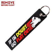Fashion Car Key Chain Embroidery IF IN DOUBT GO FlLAT OUT Disppear Motorcycle llaveros Keychain Fobs OEM ATV Keyring