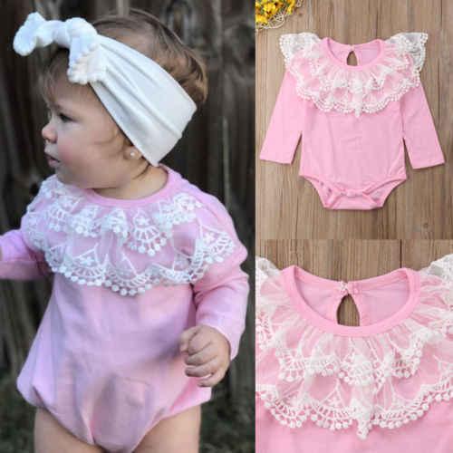 Bebé rosa mono chico bebé niña de manga larga mono Babgyrows mono Rosa ropa de bebé recién nacido Ropa de los niños