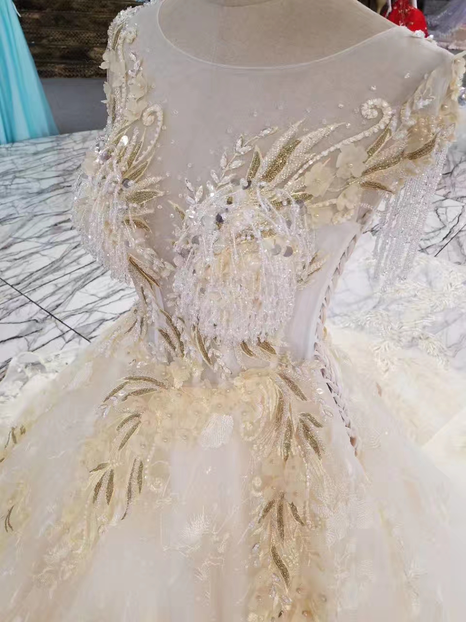 Lace Crystals de lux Margele de aplicatii rochie de mireasa rochie de - Rochii de mireasa - Fotografie 4