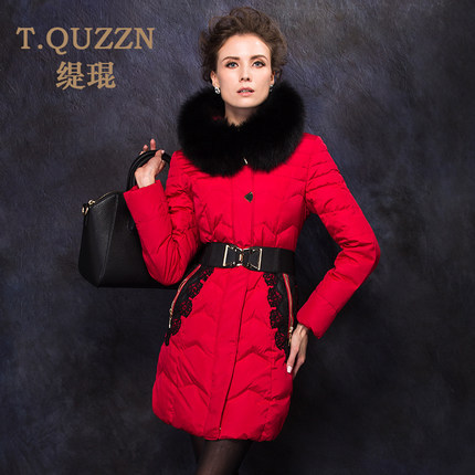 2015 Winter Thicken Warm Woman Down jacket Coat Parkas Outerwear Luxury Hooded Fox Fur collar Mid Long Plus Size 3XXXL Lace Red top ec mens winter thicken warm smalltand collar down jacket coat