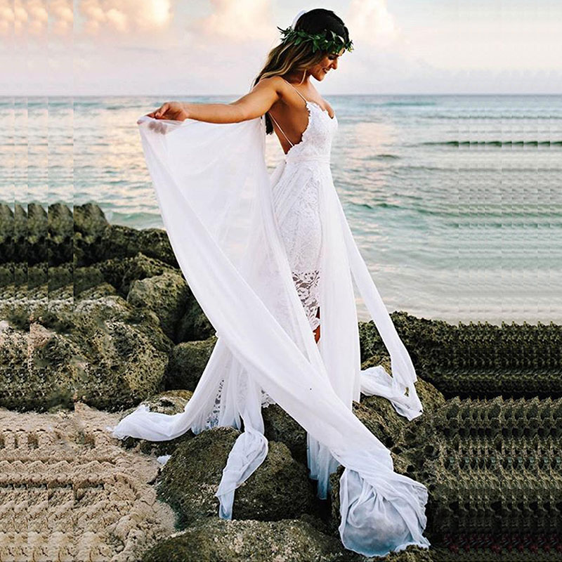 LORIE Boho Wedding Dress Spaghetti Strap A Line Lace Sexy Backless Beach Wedding Gown White Ivory Bride Dress Free Shipping 2019