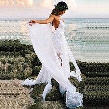 LORIE Boho düğün elbisesi Spagetti Kayış Bir Çizgi Dantel Seksi Backless Plaj gelinlik Beyaz Fildişi gelinlik Ücretsiz Kargo 2019