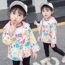 Baby Girls Jacket 2019 Brand Autumn Children Hooded Zipper Cartoon Windbreaker Infant Kids Waterproof Coat for 1 2 5 Year