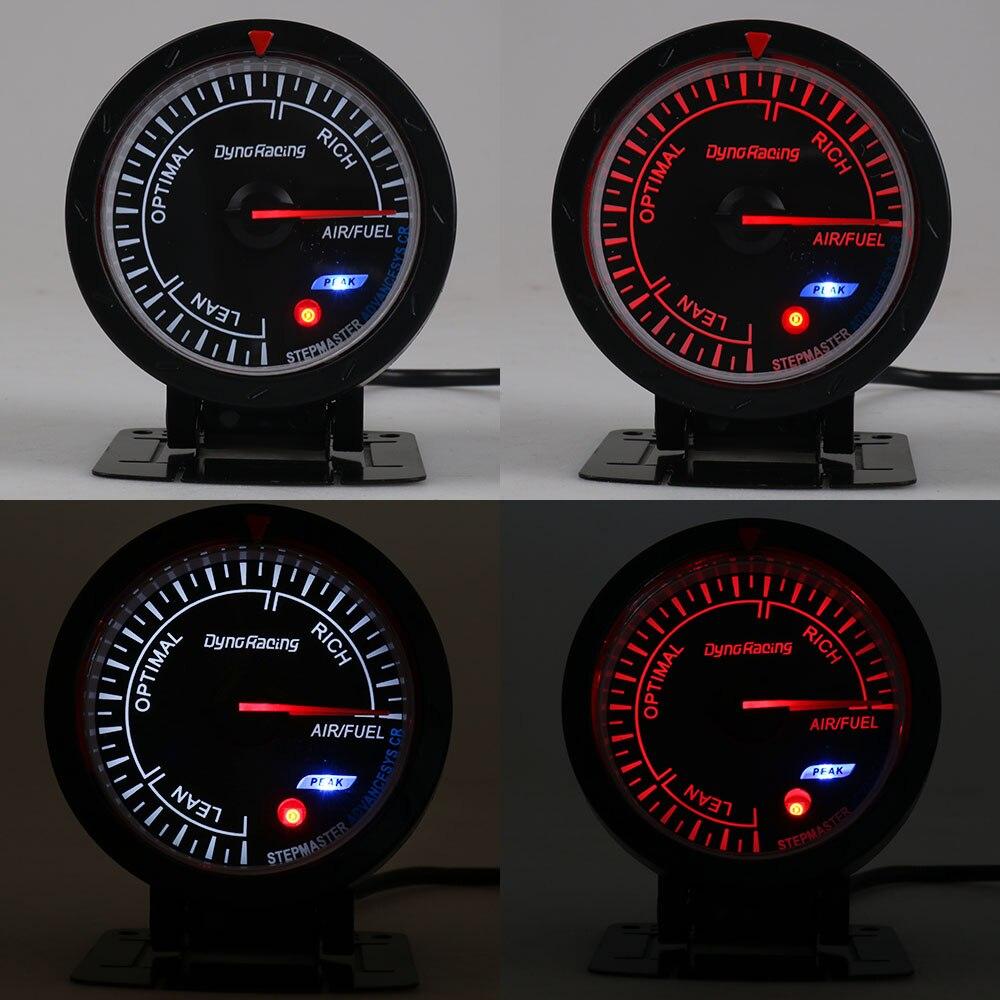 Dynoracing 60 мм автомобильный воздушный датчик соотношения топлива красный и белый Освещение узкополосный воздушный измеритель соотношения топлива Черный Автомобильный измеритель BX101473
