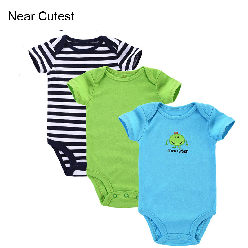 Near Cutest 3pcs/lot Baby Clothes Summer Newborn Baby Girls Boys Clothes Cotton Short Sleeve Baby jumpsuit roupas de bebe menino new 2017 brand quality 100% cotton newborn baby boys clothing ropa bebe creepers jumpsuit short sleeve rompers baby boys clothes