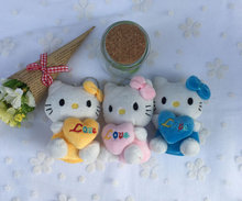 Kawaii 3Colors 9CM Love Heart CAT Plush Stuffed Toy Doll ; Valentine's DAY Gift Plush keychain TOY DOLL(China)