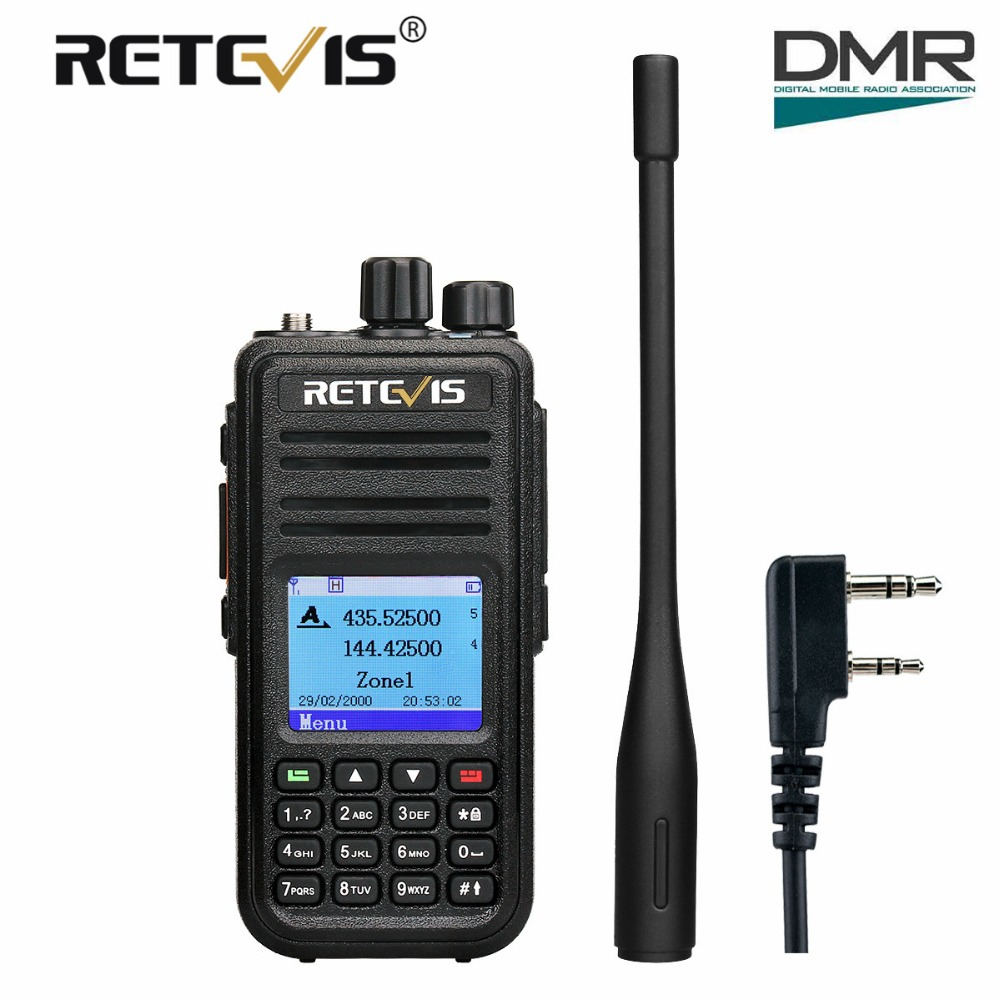 Retevis RT3S Dual Band DMR Digitale Walkie Talkie Ham Radio Amador Hf Ricetrasmettitore VHF UHF (GPS) retevis DMR Radio + Cavo di Programma