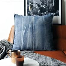 DUNXDECO, funda de cojín decorativa, funda de almohada, Cojines Vintage, estilo americano, acabado antiguo, Jean, adorno para sofá, asiento, cojín