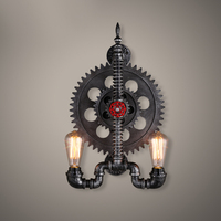 Creative Iron Bar Restaurant aisle wall lamp loft industrial gear personality water pipes wall light