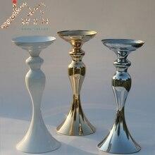 """3 colores! 32 cm/12 """"altura de metal vela titular palillo de la vela central de la boda evento romántico flor principal de carreteras de rack"""