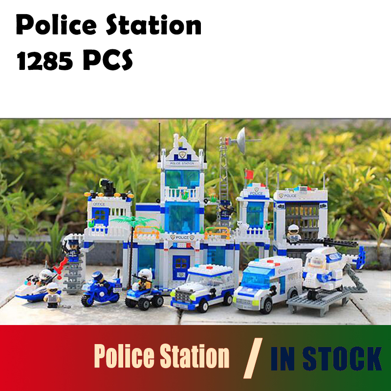 Compatible with lego City Model building kits Police Station 1285 Pcs 3D blocks Educational toys hobbies for children