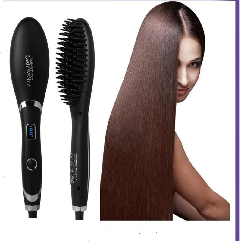 Электрическая ионная плоская прямая расческа для волос, железная палочка для укладки, быстрый нагреватель, расческа для волос, выпрямитель ...