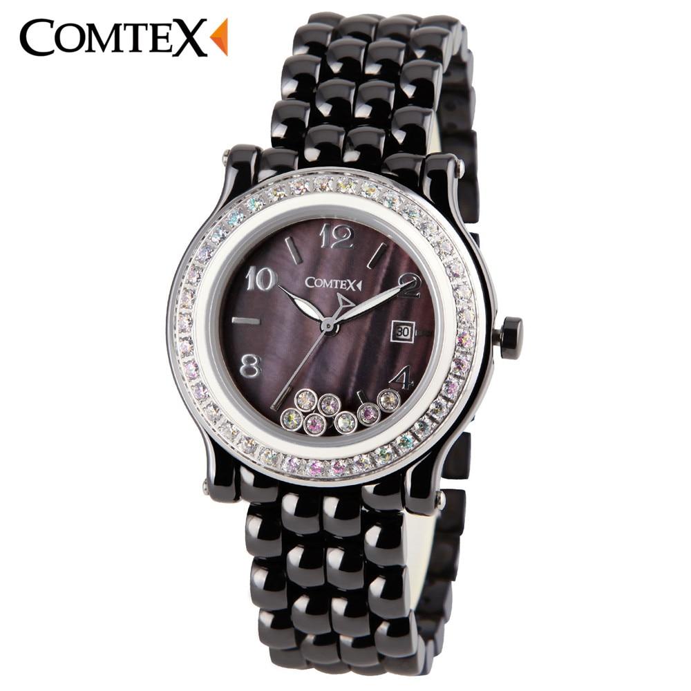 COMTEX Women Watch New Fashion Design Luxury Black Ceramic Quartz Wristwatch Woman Crystal Watches Ladies dress clock reloj gift