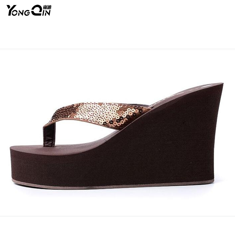 Fashion Women Shoes 2016  Comfortable Non-Slip Wedges Summer Sandals Slippers  Sequins Women Flip Flops Beach Sandals  Women