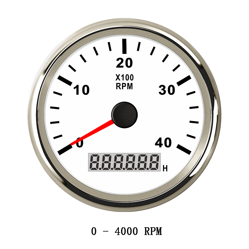 85mm Marine Tachometer Diesel Auto Car 4000 RPM Gauge hour meter for Boat Car Truck Outboard Engine Red Backlight 12V 24V kus marine outboard tachometer with led hourmeter boat truck car rv waterproof rpm meter 6000 rpm 85mm speed ration 1 10