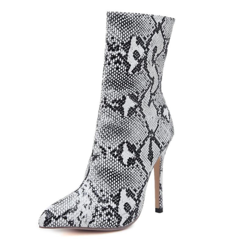Super E Puntiagudo Pie Otoño Moda Las Invierno Mujeres Tamaño Del Zapatos Smirnova Alta Tacones De Dedo White Señoras Para 2019 Tobillo Botas Grande FnpAO