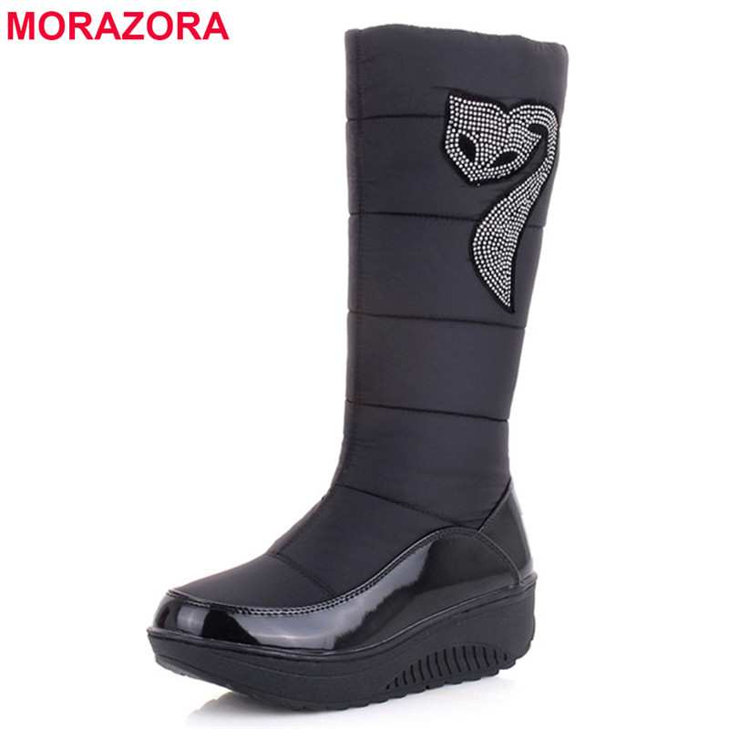 MORAZORA Plus size 35-44 new women winter boots warm cotton down shoes waterproof boots snow boots fur platform mid calf boots new winter women long style down cotton coat fashion hooded big fur collar casual costume plus size elegant outerwear okxgnz 818