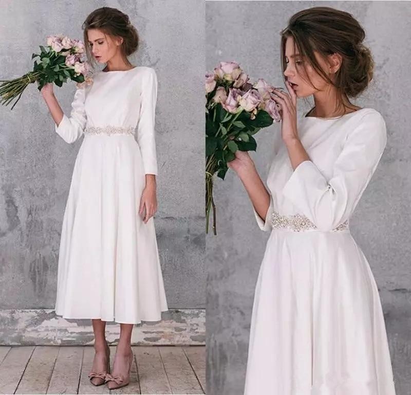 2020 Long Sleeve Soft Satin Wedding Dresses Vintage A Line Tea Length Gorgeous Simple Wedding Bridal Gowns Robe De Mariage