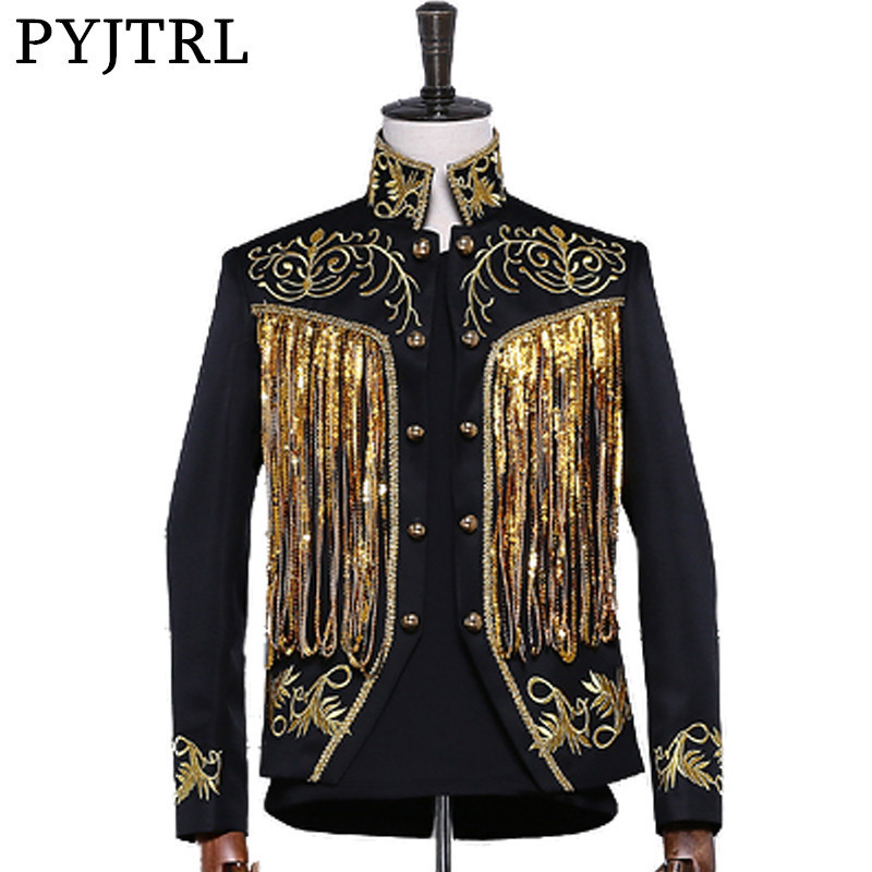 PYJTRL Men's Gold Silver Twinkle Tassel Sequins Embroidery Double Breasted Stage Singer Suit Jacket Men Slim Fit Blazer Designs