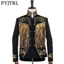 PYJTRL Mens Gold Silver Twinkle Tassel Sequins Embroidery Double Breasted Stage Singer Suit Jacket Men Slim Fit Blazer Designs