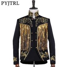 PYJTRL męska złoty srebrny Twinkle frędzle, cekiny haft podwójne piersi etap piosenkarka garnitur kurtka mężczyźni Slim Slim fit, blezer wzory
